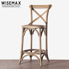 Restaurant bar stool solid wood rattan seat X cross back dining chair with footrest cross back bar stool