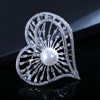 SJ0012147932 China Wholesale Brooch Persoanlized Full Pave Cubic Zirconia Hollow Heart Shaped Fine Silver Pearl Brooch