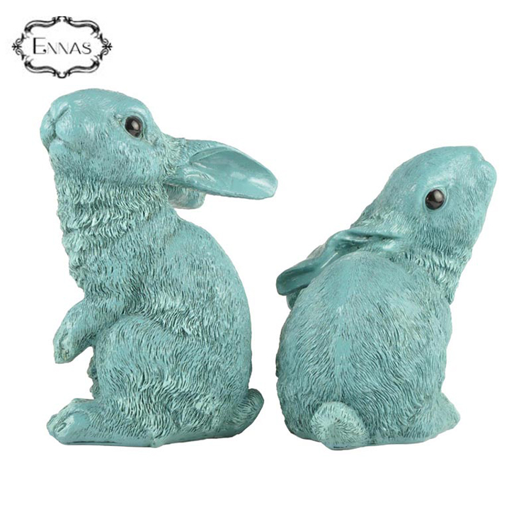 Custom size easter vivid gift resin rabbit decoration animal statues bunny