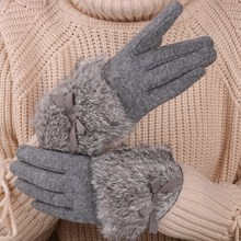 Women's fashion cashmere gloves in winter