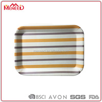 wholesale cheap striped top grade 36cm anti-slip plastic serving tray