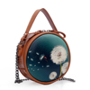 2018 fashion round printed fabric women leather shoulder bag with Chain college Messenger handbag