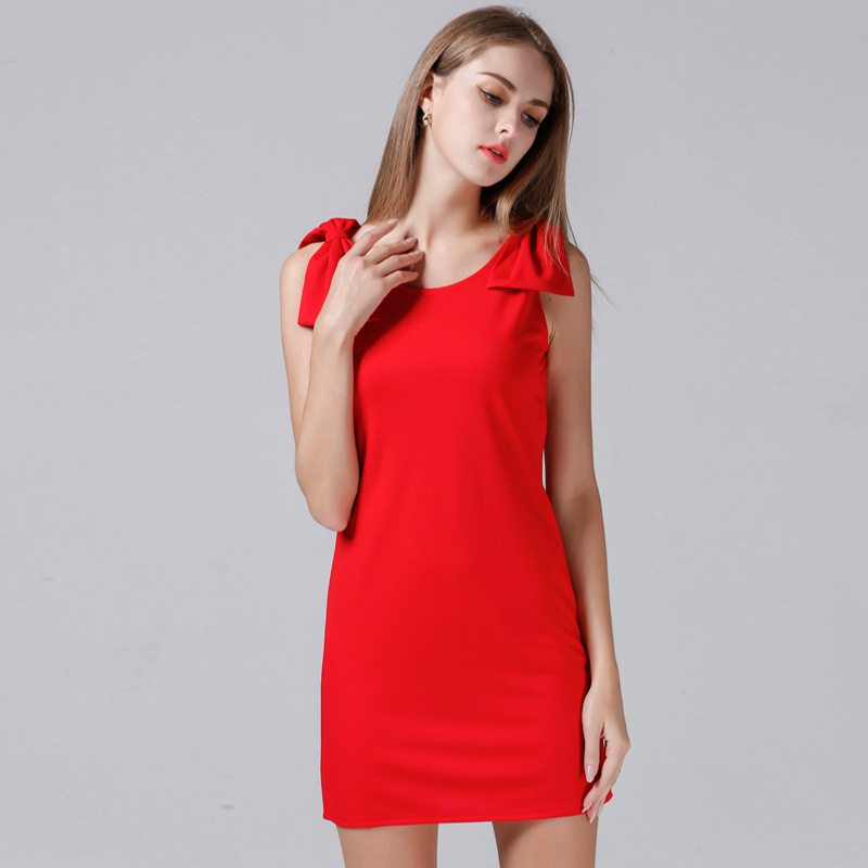 European station 2018 summer new women's solid color round neck bow sleeveless Slim Dress