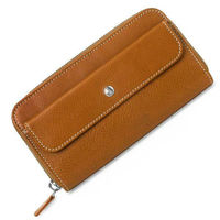 2018 hot selling nature leather women wallet with double zipper and coin pocket outside from factory directly sale