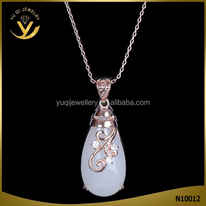 Cave Patterns National Style Jade Pendant Gold Chain Necklace For Women