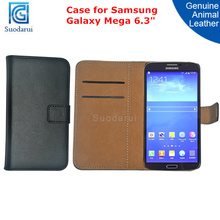 2 Card Slots Wallet Case for Samsung Galaxy Mega 6.3 I9200 genuine Leather Pouch Flip Cover
