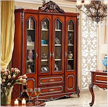 American style solid wood bookcase 1.8 meters combination of large bookcase colored glaze four door cabinet pfy4004