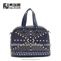 European style women leather handbag crocodile punk style PU bag handbag manufacturer