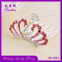 New selling crown shape colorful bridal hair comb wedding jewelry