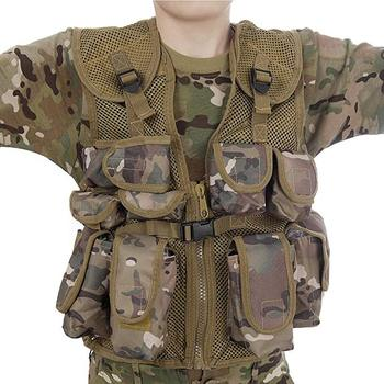 Tactical Vest Kids Army Camo Combat Military Vest Fits Ages 5-13 Yrs