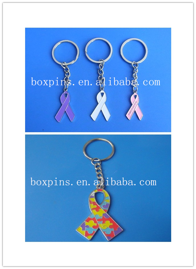 Ribbon Items Keychain Keyring for Cancer and Autism Awareness