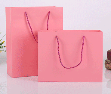 Durable printing wholesale custom shopping paper bag pink