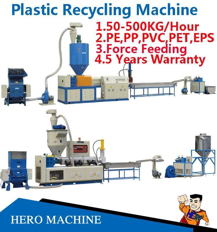HERO BRAND PVC HDPE LDPE PE Garbage EPS PET PP Nylon Plastic Bags Film PS Bottle Washing Waste Plastic Recycling Machine Price