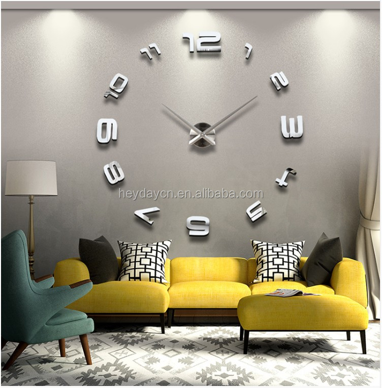 Novelty modern design home decorative 3D frameless large DIY wall clock (HD-1001)