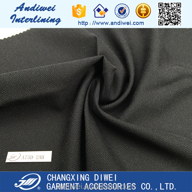 hot sale 100% polyester woven twill fusing interlining fabric