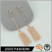 Fashion Trendy Gold Long Chains Design Gold Tassel Pendents Earrings