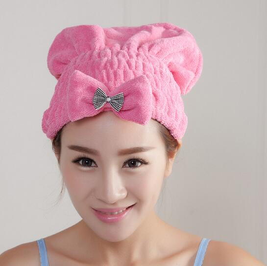 Hot Selling Super Absorbent Microfiber Dry Hair Hat With Bow-knot