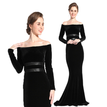 Trendy romantic formal off shoulder evening gown dress long sleeve