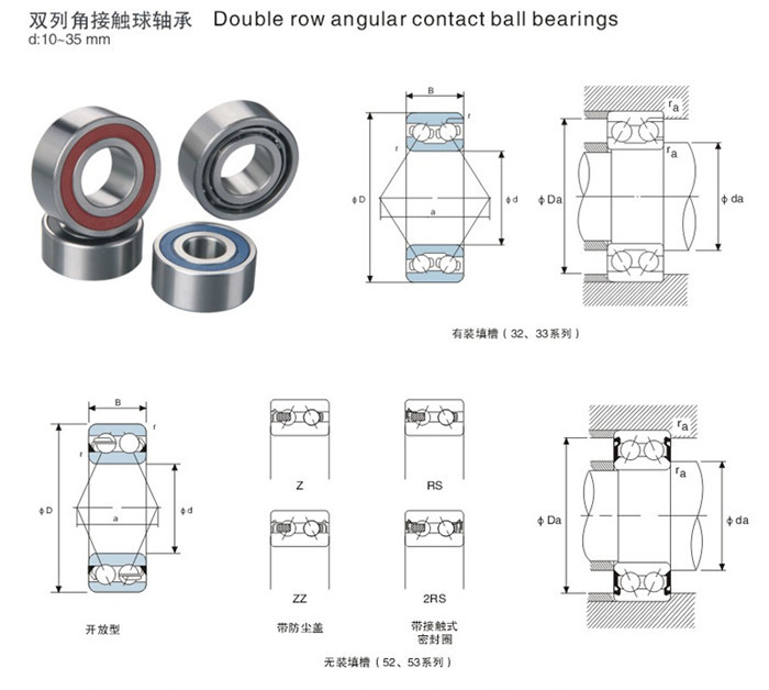 42-0020 3016-2RS 3810-2RS 466931 3202 2RS 5001-2RS manufacturer double row angular contact ball bearings