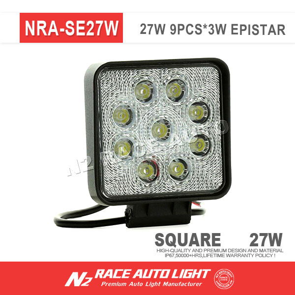 China Cheap 27W LED WORK LIGHTS,27W LED TRUCK LIGHTS,27W CAR LED LIGHT BAR With Flood/Spot/Combo Beam for Options