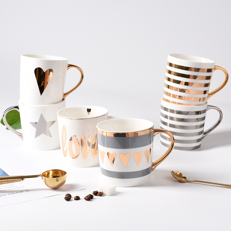 NO MOQ Sweetheart Gold plated heart shaped valentine's xoxo day porcelain tableware SGS Eco-friendly tea and coffee mug