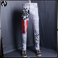 2017 OEM new design fashion print slim fit narrow bottom men skinny jeans