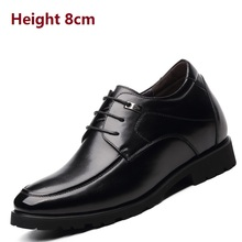 Calf Leather Formal Wedding Shoes Hidden Height Increase Shoes, Extra Invisible Height Increasing Shoes for Men