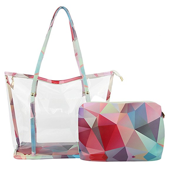 Clear Transparent Women PVC Hand Bags And Full Chevron Prints PVC Lady Shoulder Handbag With Interior Pocket