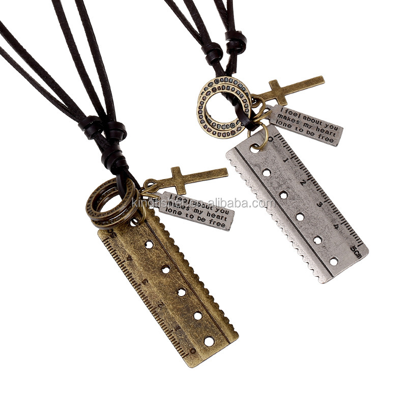 Antique silver and brass tone alloy ruler necklaces for men genuine leather cord wholesale