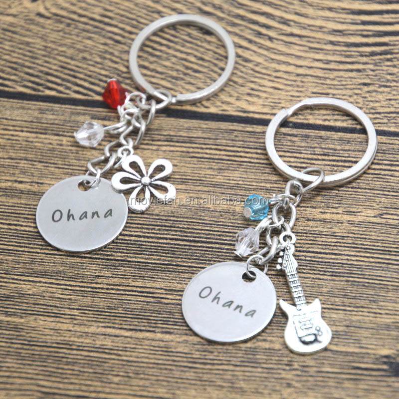 Ohana friendship keyring Ukulele charm Hawaiian Flower Best friend Sister Family keyring