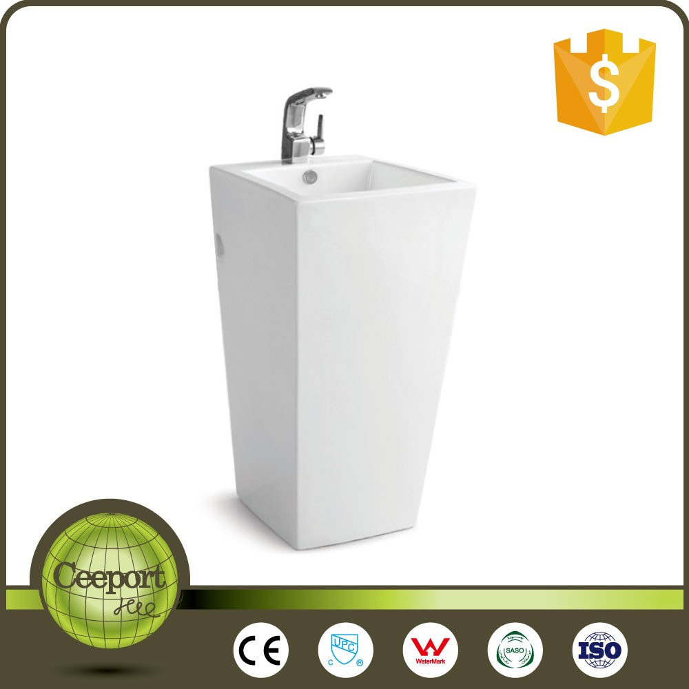 Hotel Fancy artificial stone floor standing bathroom sink luxury white solid surface wash basin
