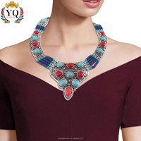 NYQ-00089 latest design beads new Bohemian statement alloy pendant jewelry necklace for women