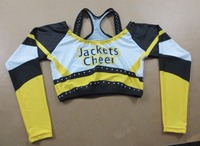 Wholesale short sleeve stretch dry fit cheerleading uniforms