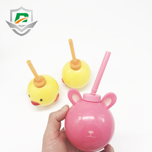 2018 new products food grade Eco-friendly plastic cute kids spherical water bottle drinking cup with straw