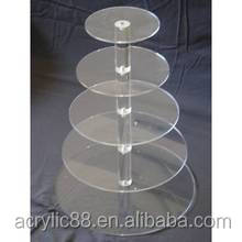 custom high quality elegant 5tier acrylic weeding cake/cupcake stand, wedding decoration cupcake stand
