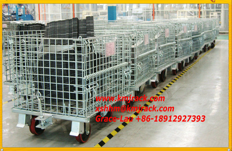 Foldable Wire Mesh Container/ storage cage/ Metal basket