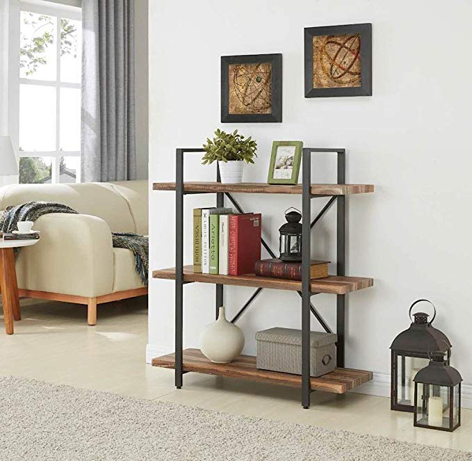 3-Tier Industrial Bookcase and Book Shelves of Metal Bookshelves for living room
