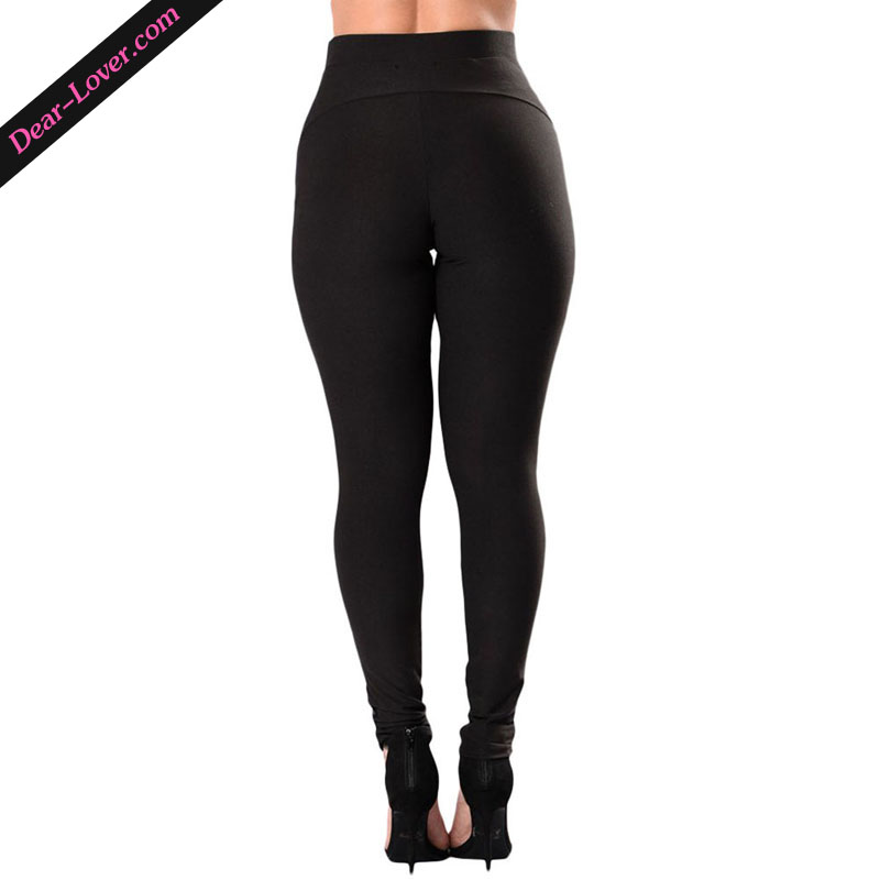 Ladies Black High Waist Mesh Detail Patchwork Leggings Leg Wear