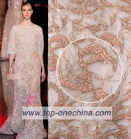 2016 wholesale handwork embroidery French lace fabric /Beaded Bridal Lace / embroidered beading net lace in Cambodia