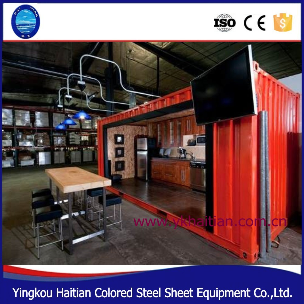 2016 latest shipping container sandbeach coffee shop/bar/homes , prefab mobile container coffee bar/shop for sale