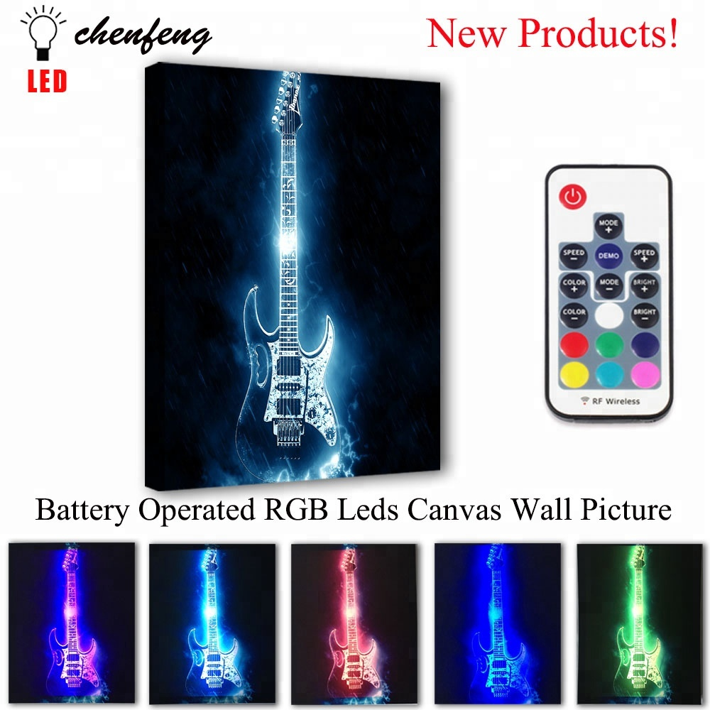 Led Custom Canvas Print Rock Guitar Music Wall Picture Remote Control Illuminate Painting Light And Poster Decorative Gift Buy