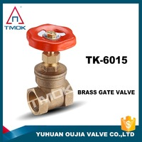 female BSP thread cw617n PTFE PN16 4inch brass gate valve forged brass stem sand blasting non rising gate valve in OUJIA VALVE