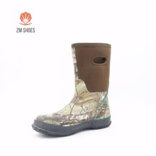 2017 ZM New item brown fabric upper camo bottom rubber boots with neoprene lining rubber outsole for kids