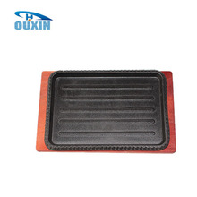 Cast iron pre-seasoned rectangle sizzler plate