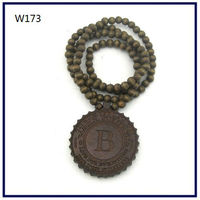 Wood Necklace Hip hop Brown Round WALL Beaded Fashion rosary Factory price W173