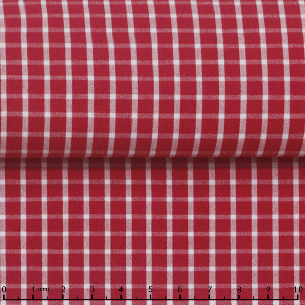 stock red plaid poplin fabric