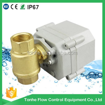"OEM DN15 2 way 1/2"" 4-20mA electric flow regulating valve regulation brass ball valve"