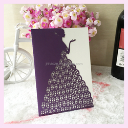 Cheap Romantic Cards Envelope Delicate Carved Pattern beautiful bridge Wedding Party visit Invitation Card laser cut with low