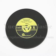 any sizes and shapes available wholesale order custom pvc rubber silicone vinyl record coaster drink coaster set