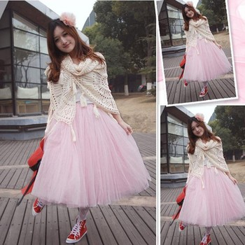 Fashion Princess Fairy Style 2 layers Voile Tulle maxi dress Bouffant Puffy fashion long skirts new style